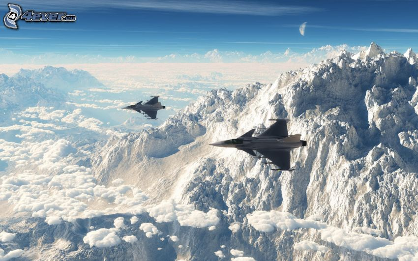 Saab JAS 39 Gripen, snowy hill, over the clouds
