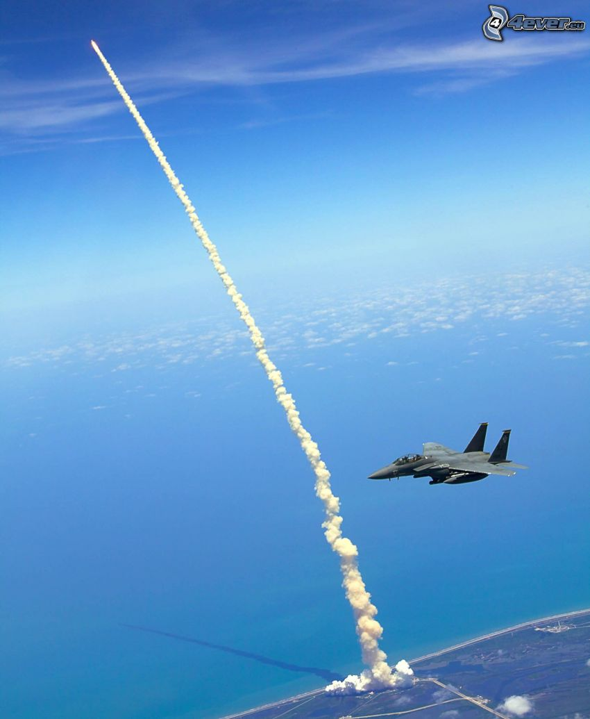space shuttle start, F-15 Eagle, Kennedy Space Center, the view of the sea