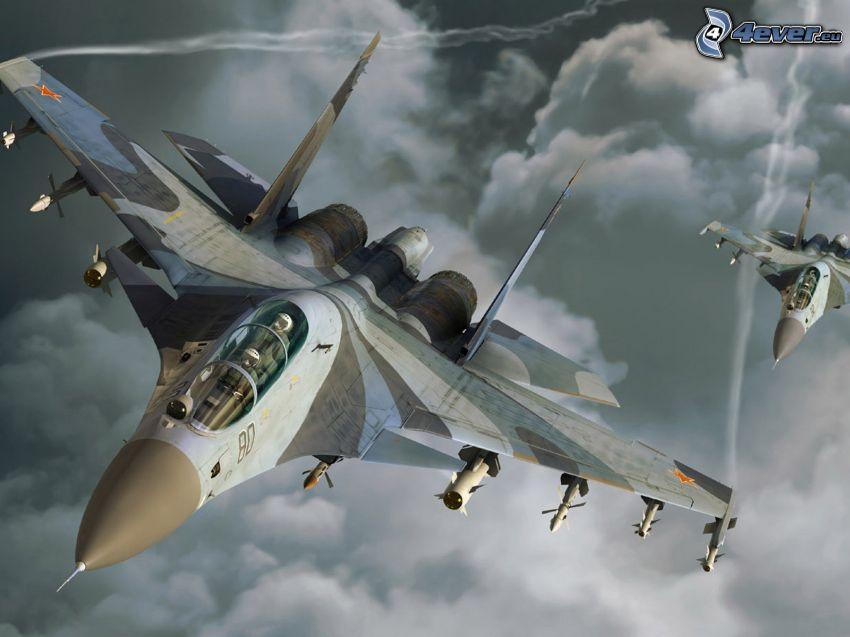 Sukhoi Su-24, clouds, contrail