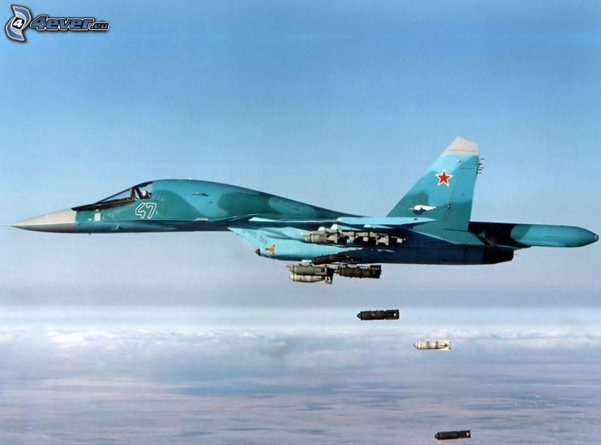 Sukhoi Su-34, fighter, over the clouds, bombing, missiles