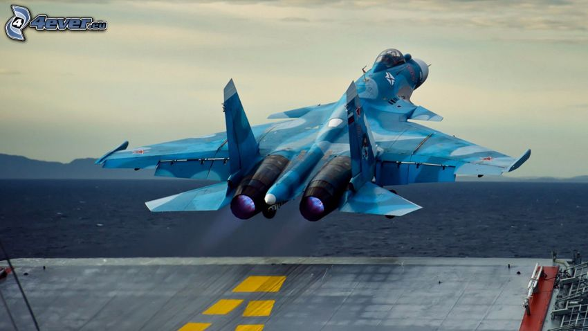 Sukhoi Su-35, take-off, aircraft carrier