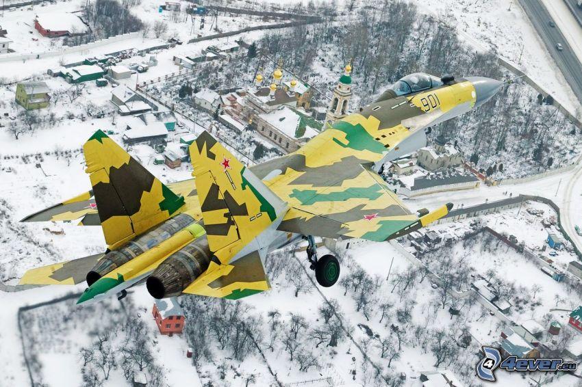 Sukhoi Su-35S, snowy landscape