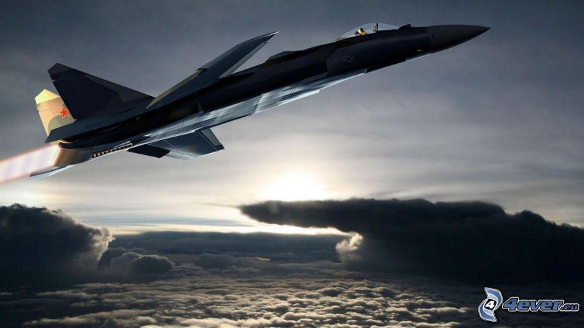 Sukhoi Su-47, clouds