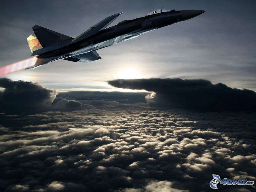 Sukhoi Su-47, over the clouds, clouds