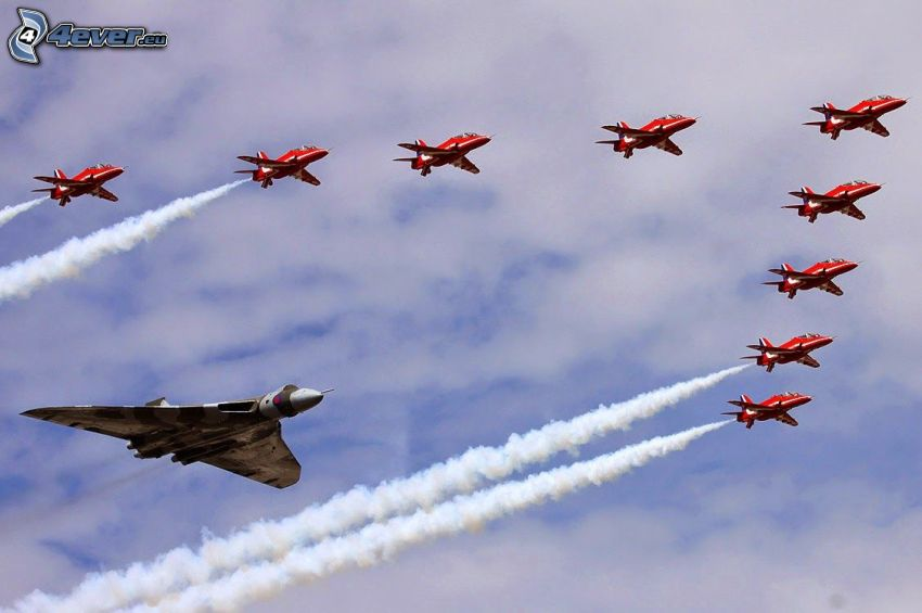 air show, fighter, contrail