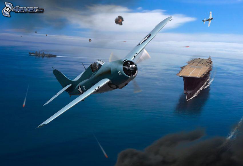 air war, fighter, aircraft carrier, sea