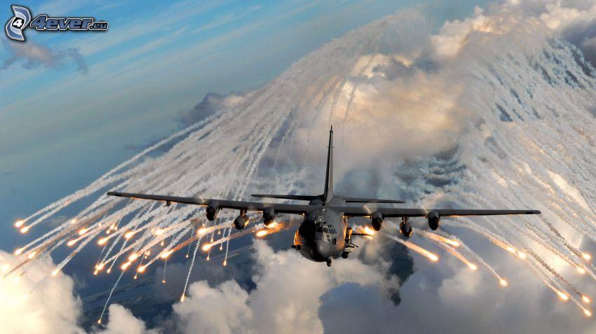 AC-130 Gunship, clouds, lines