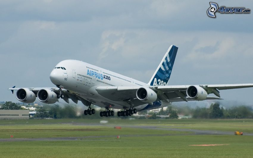 Airbus A380, aircraft, take-off, airport