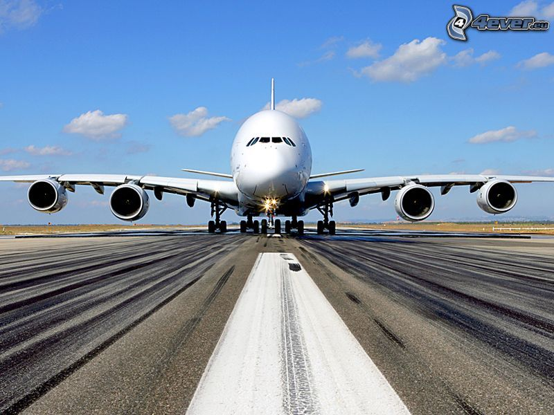 Airbus A380, airport, runway