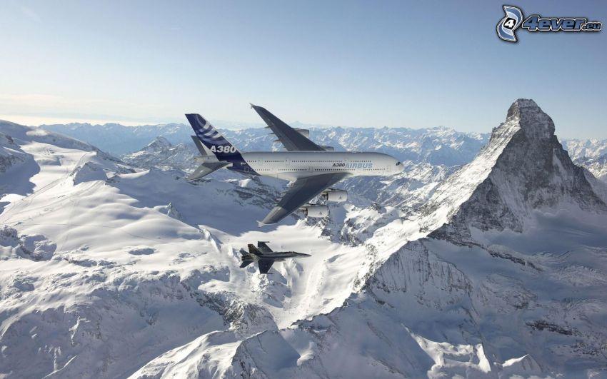 Airbus A380, F/A-18 Hornet, Matterhorn, snowy mountains