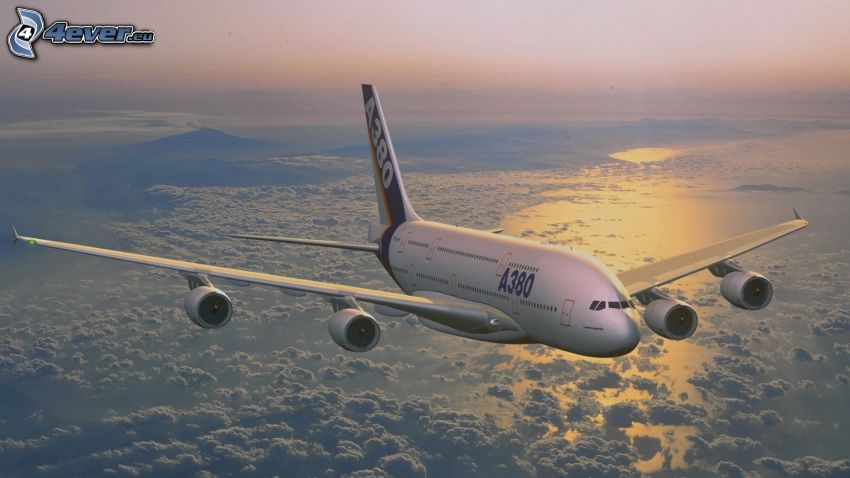 Airbus A380, over the clouds, sea