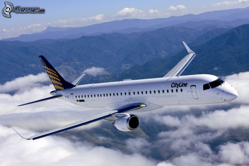 aircraft, over the clouds, mountains