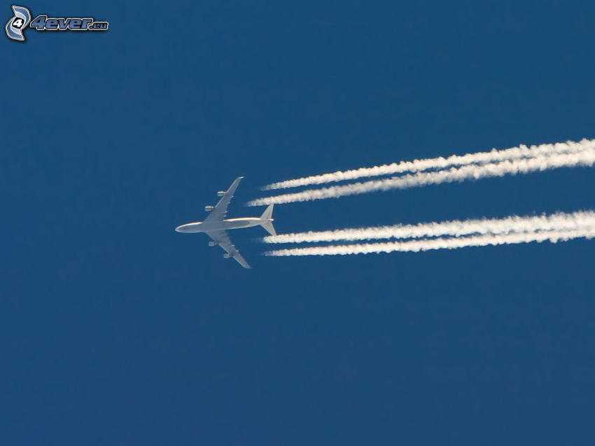 aircraft in sky, contrail