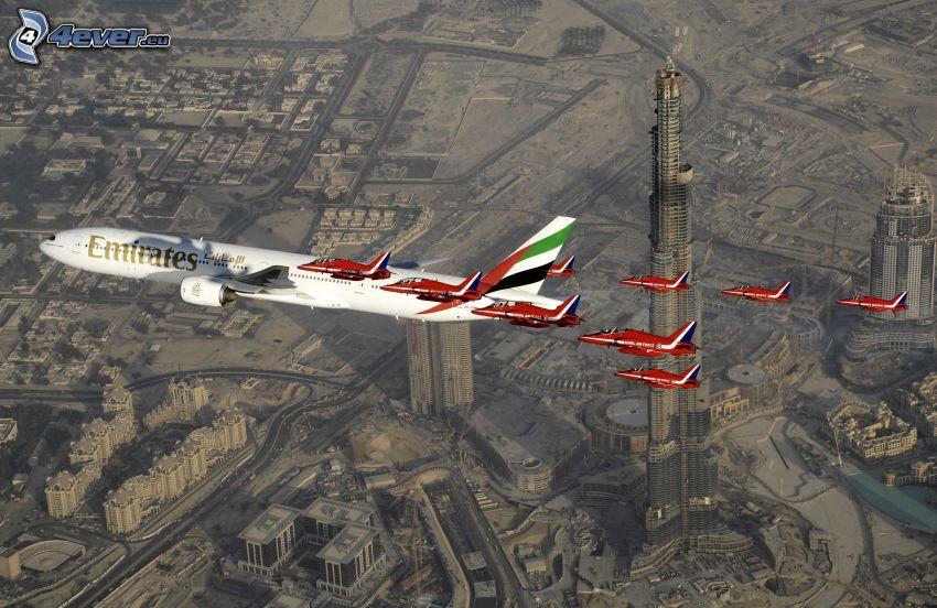 airplanes, aerial view, Dubai, Burj Khalifa