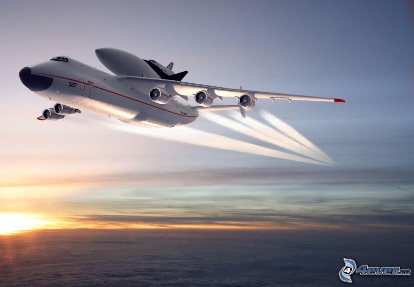 Antonov AN-225, sky, contrail