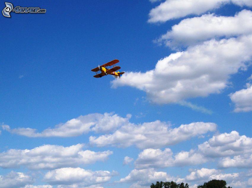 biplane, clouds