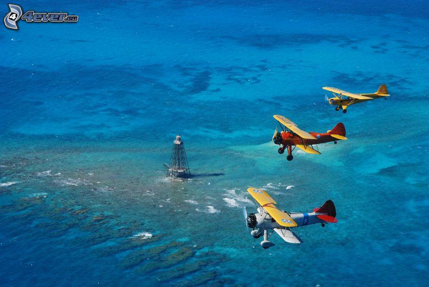 biplane, sea, transmitter