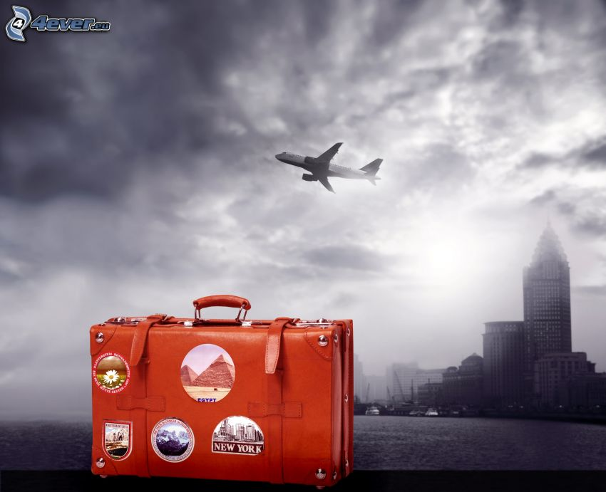Boeing 737, traveling bag, city, clouds