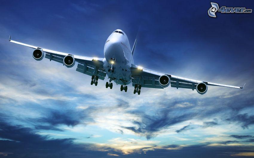 Boeing 747, clouds, sky