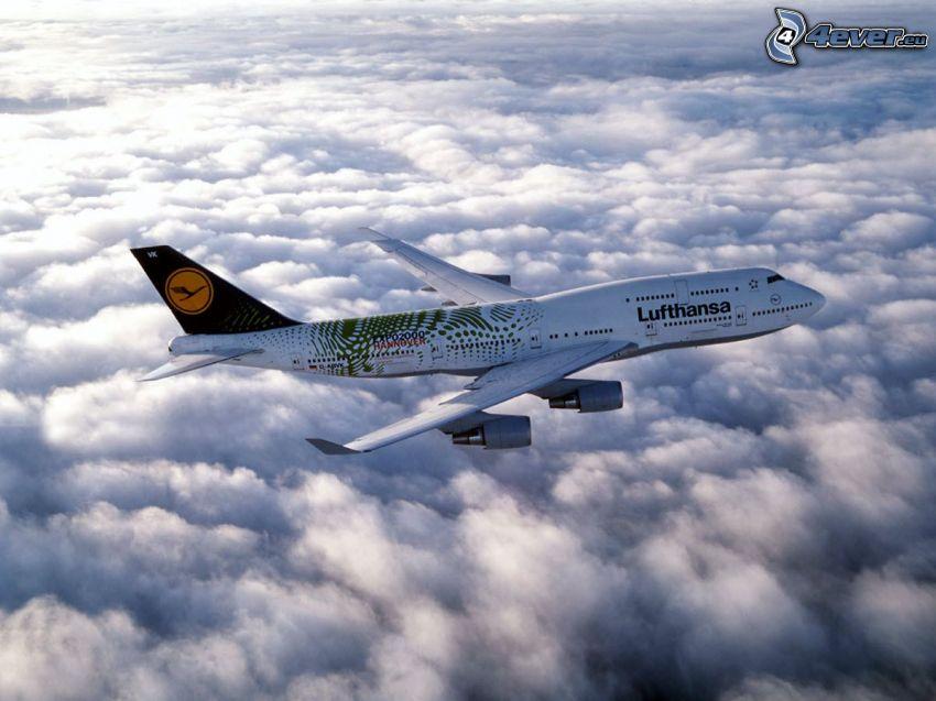 Boeing 747, Lufthansa, clouds, aircraft
