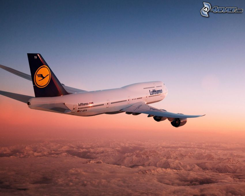 Boeing 747, Lufthansa, over the clouds