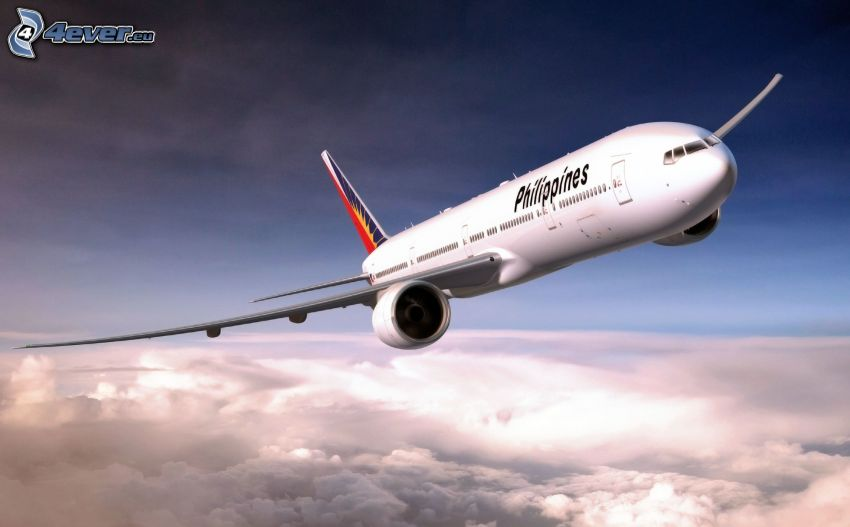 Boeing 777, over the clouds