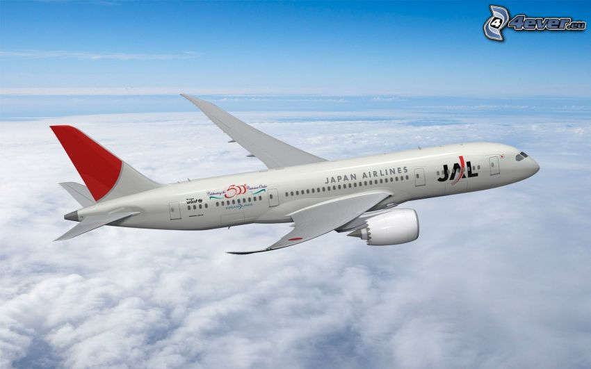 Boeing 787 Dreamliner, Japan Airlines JAL, clouds, sky