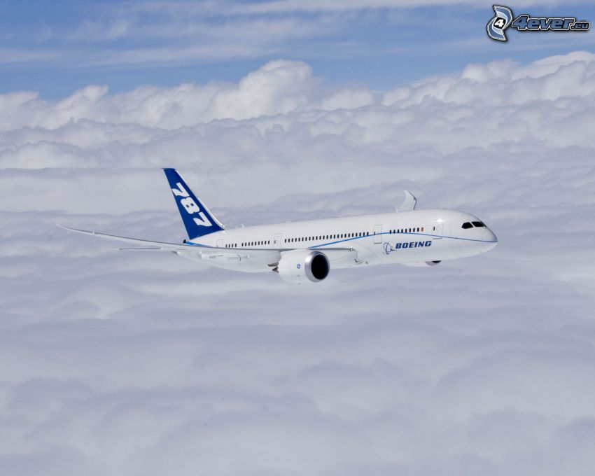 Boeing 787 Dreamliner, over the clouds