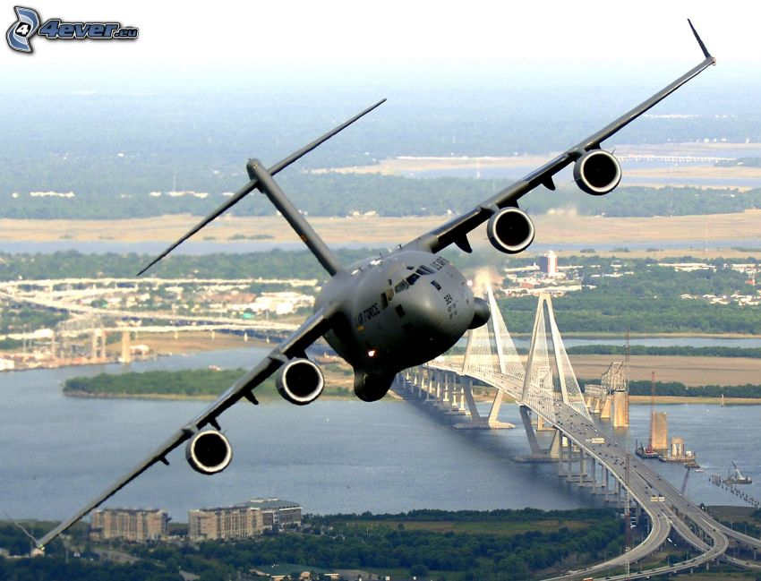 Boeing C-17 Globemaster III, highway bridge, River