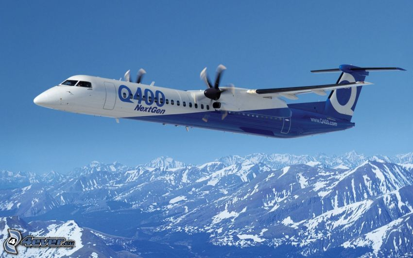 Bombardier Q400, snowy mountains