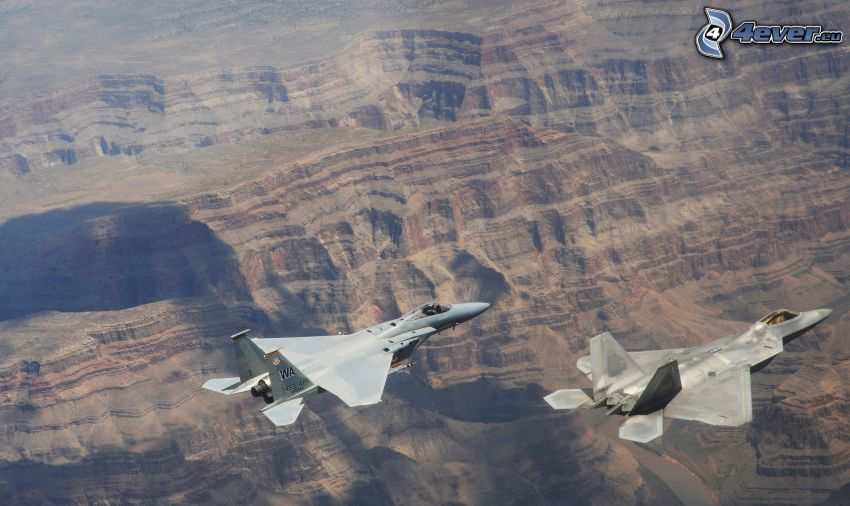 F-15 Eagle, F-22 Raptor, view of the landscape