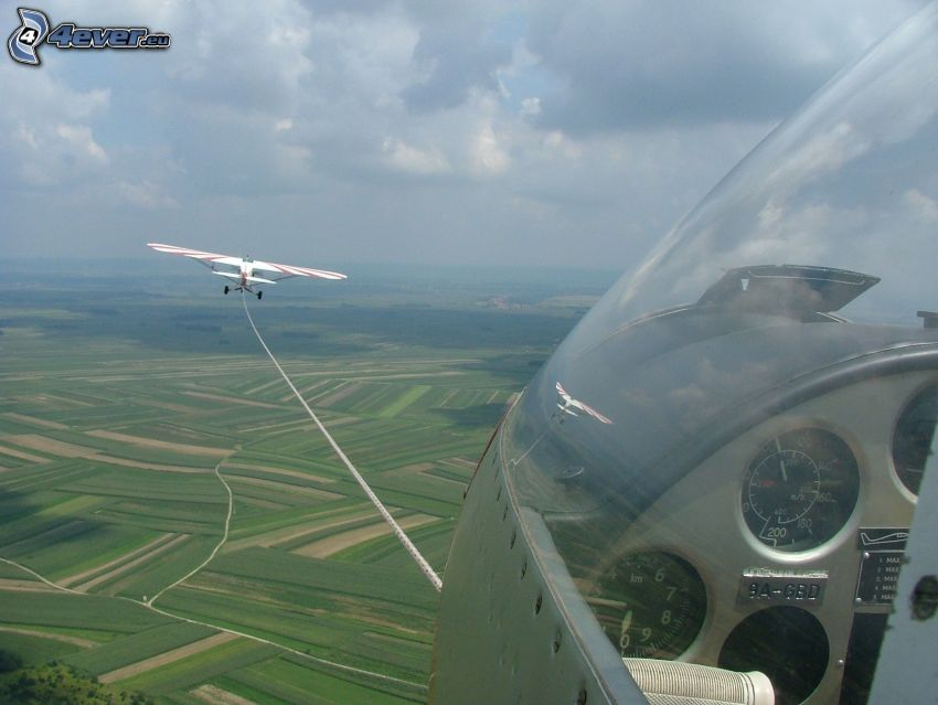 glider, aircraft, rope, view of the landscape, fields
