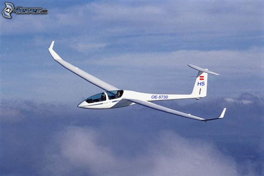glider, over the clouds