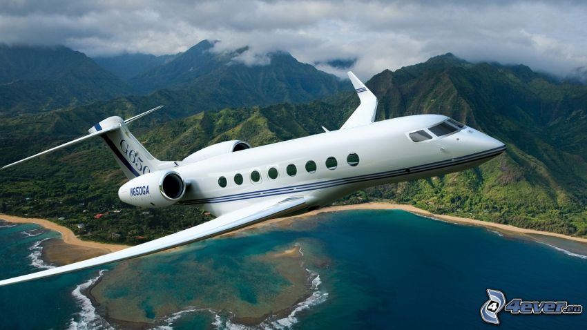 Gulfstream G650, private jet, mountains, sea