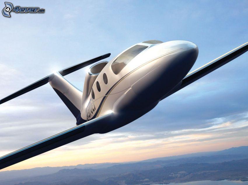 private jet, landscape