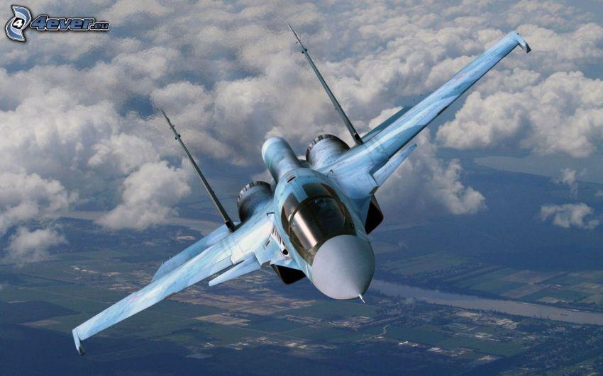 Sukhoi Su-35S, clouds, view of the landscape