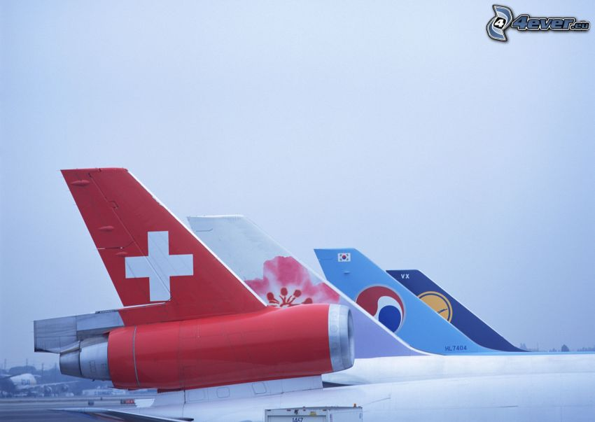 tails of aircraft, airport