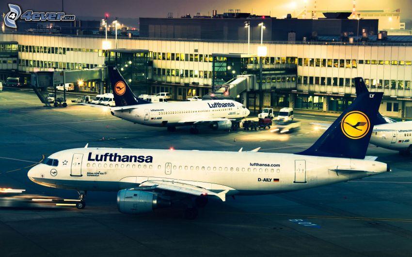 airport, airplanes, Lufthansa