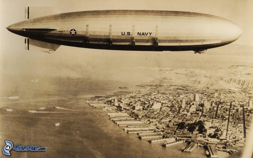 airship, Manhattan, city, sepia