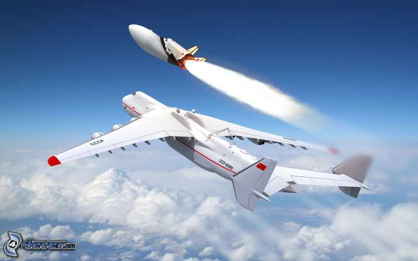 Antonov AN-225, Space Shuttle, clouds