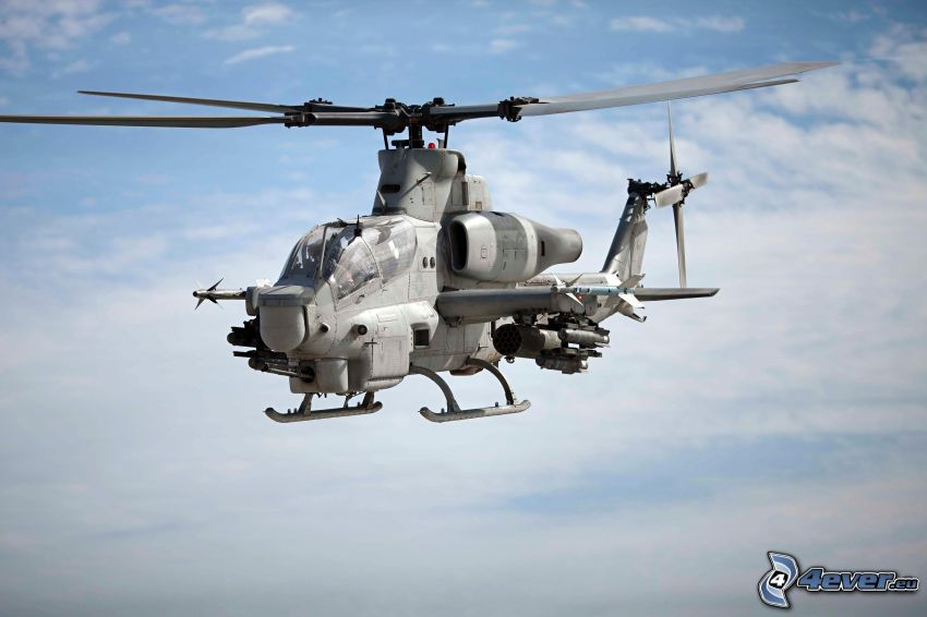 AH-1Z Viper, military helicopter, clouds