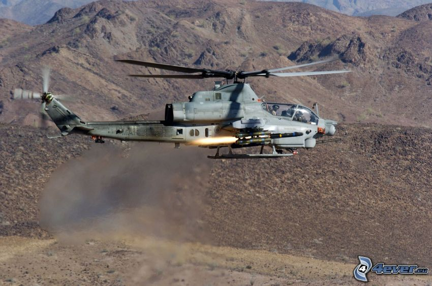 AH-1Z Viper, military helicopter, mountains