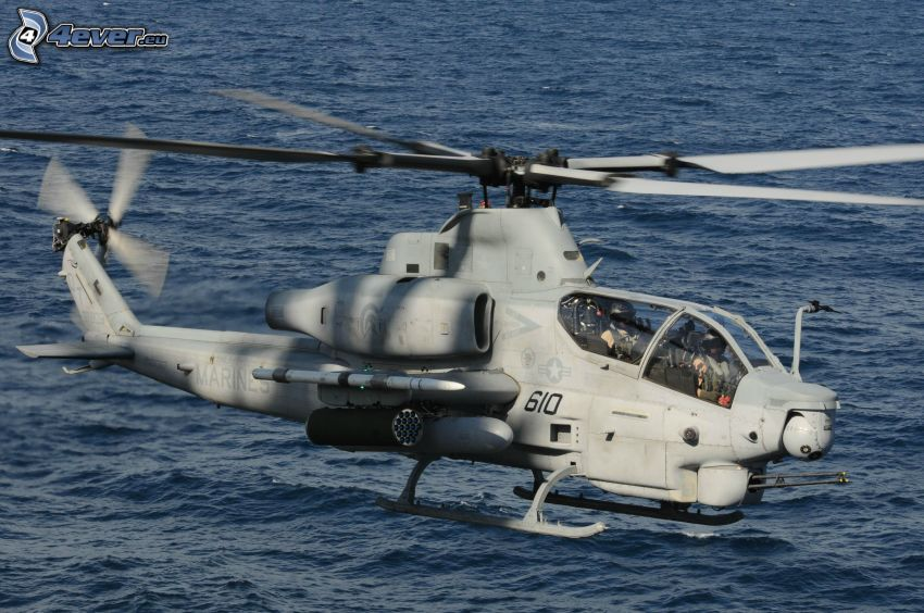 AH-1Z Viper, military helicopter, water surface