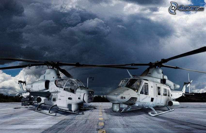 AH-1Z Viper, military helicopters, dark clouds, road