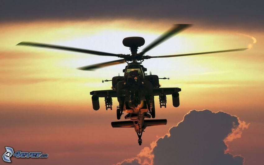 AH-64 Apache, silhouette of helicopter, clouds