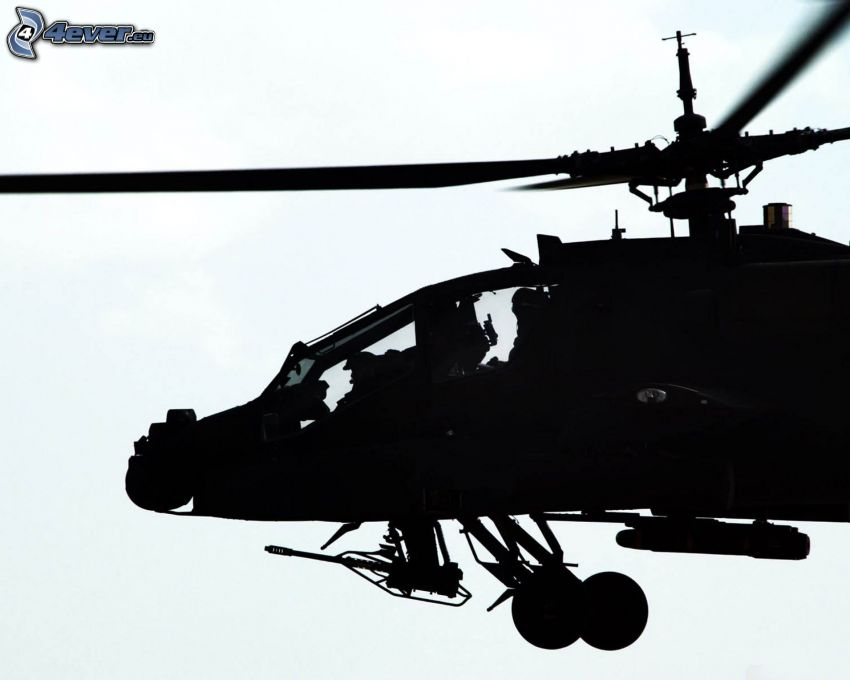 AH-64 Apache, silhouette of helicopter, military helicopter