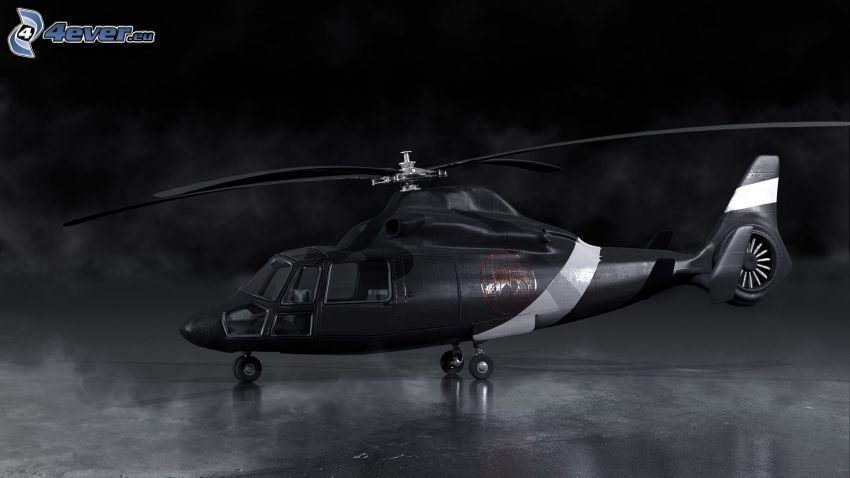 helicopter, black and white photo