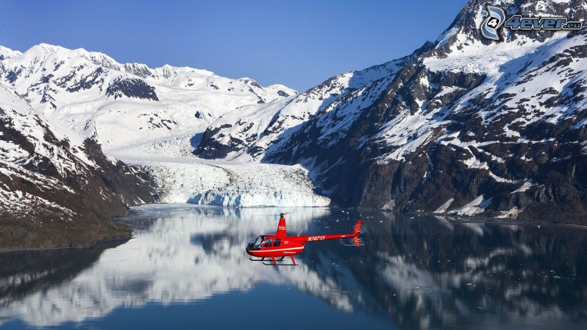 helicopter, mountains