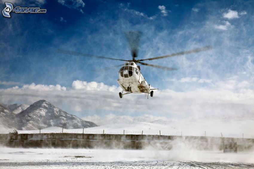 helicopter, snowy landscape