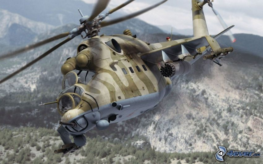 Mil Mi-24, military helicopter, hills